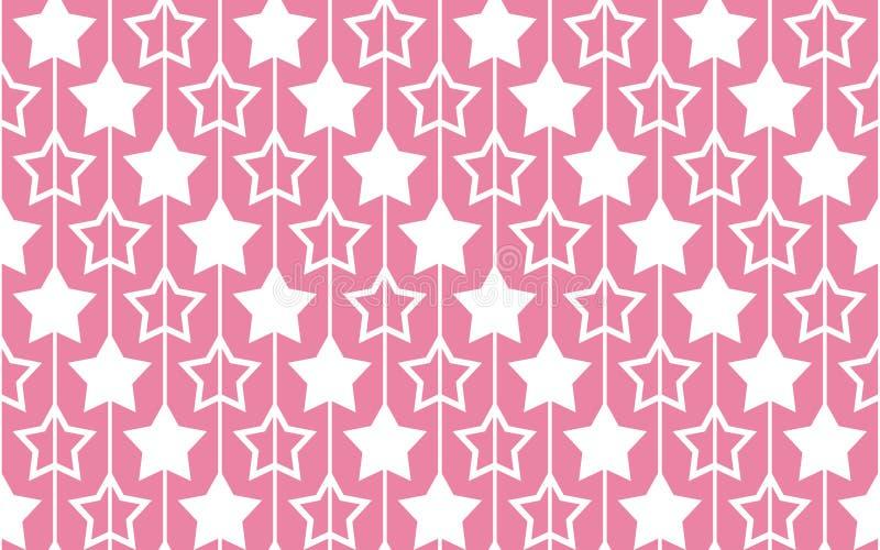 Nahtloses Muster mit Sternen auf rosa Hintergrund vektor abbildung