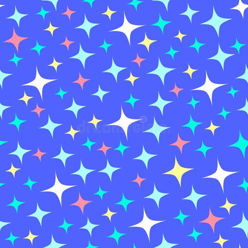 Nahtloses Muster mit Sternenlichtscheinen, funkelnde Sterne Glänzender blauer Hintergrund Nachtsternenklarer Himmel Überlagert, e stock abbildung
