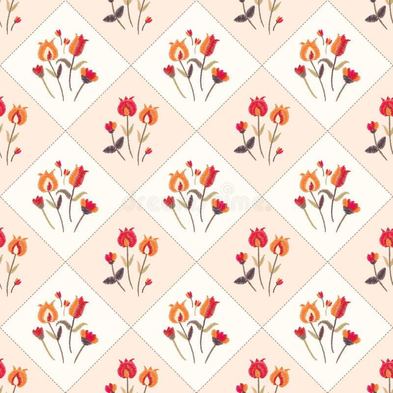 Nahtloses Muster mit Stickereiblumen in der Weinleseart Reizende Tischdecke Druck f?r Gewebe, Gewebe, Tapete stock abbildung