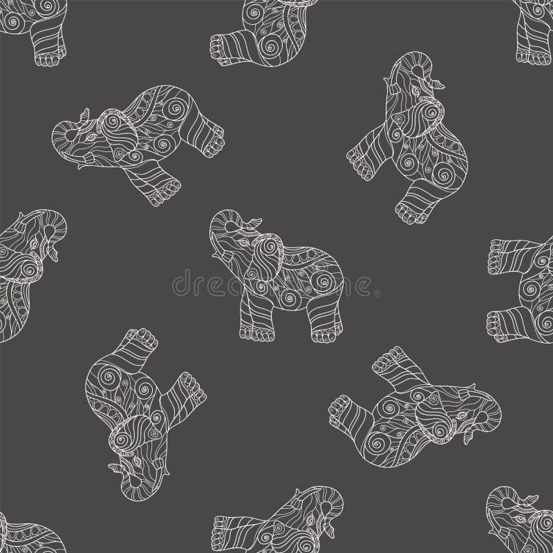 Nahtloses Muster mit stilisierten kopierten Elefanten vektor abbildung