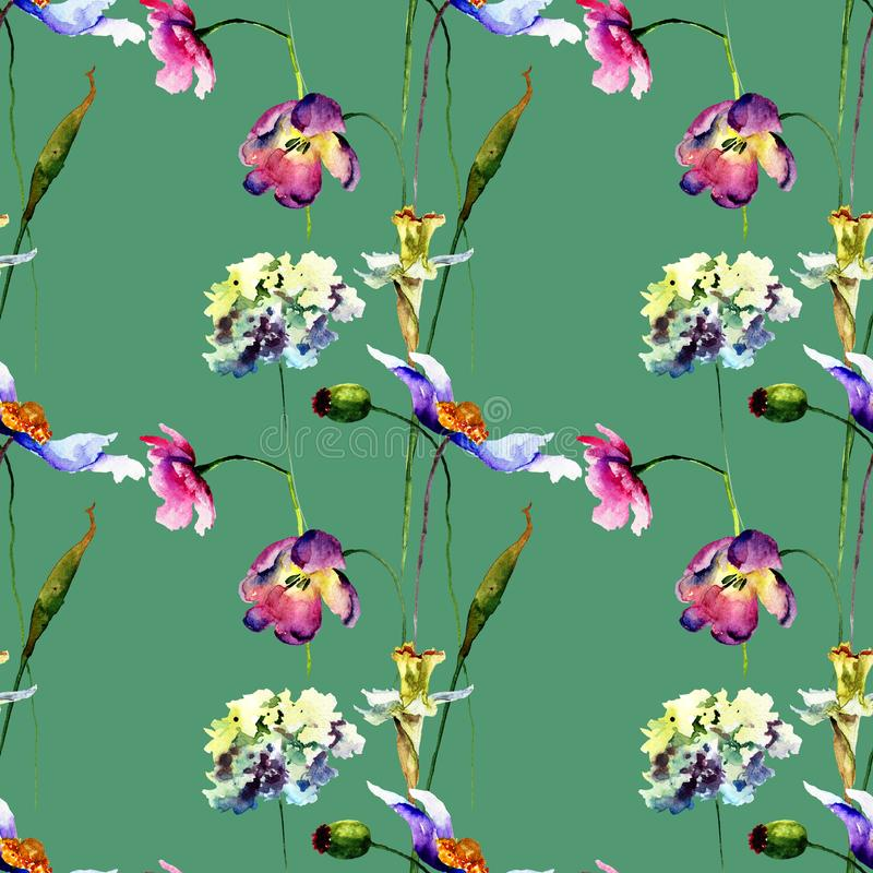 Nahtloses Muster mit stilisierten wilden Blumen stockfotos