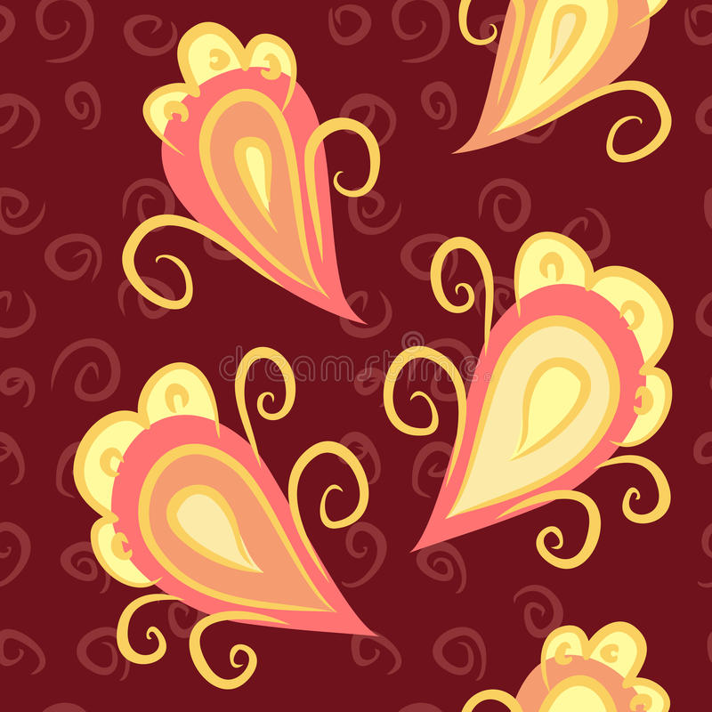Nahtloses Muster mit stilisierter Pfaufeder auf braunem Hintergrund stock abbildung