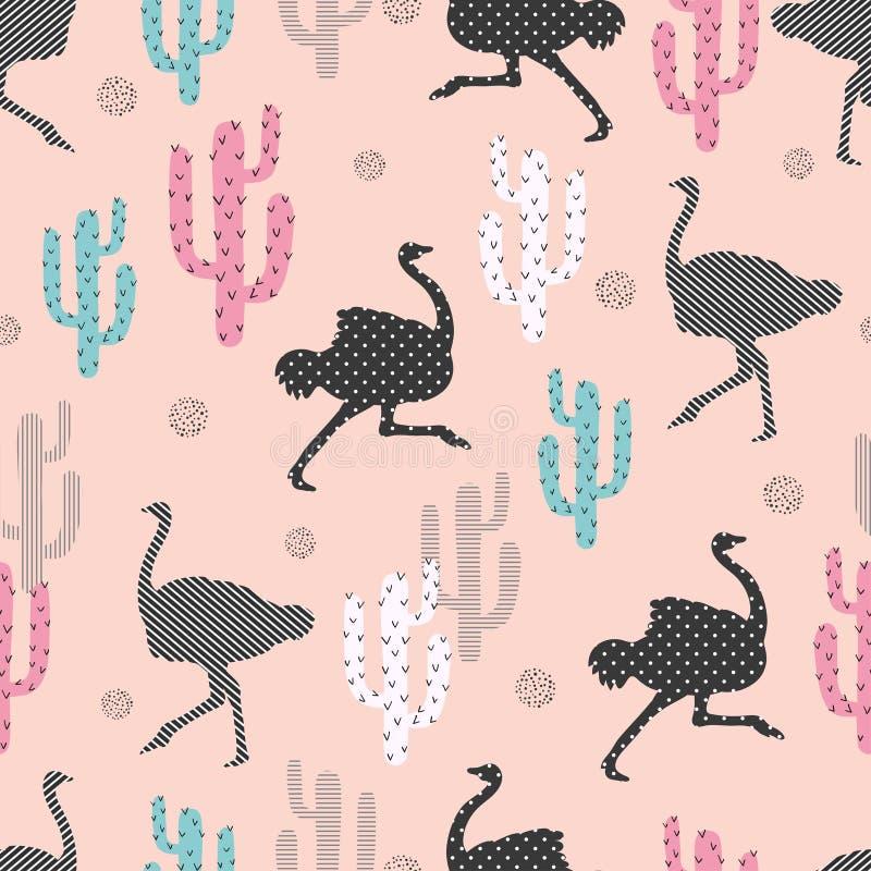 Nahtloses Muster mit Strauß und Kaktus lizenzfreie abbildung