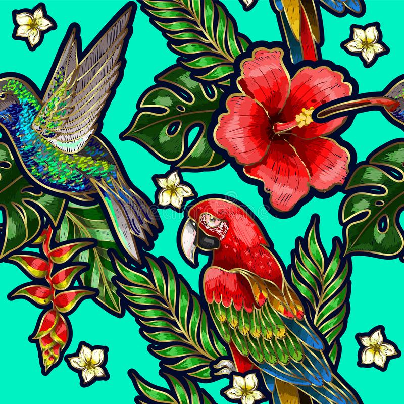 Nahtloses Muster mit Summenvogel, Hibiscusblumen und tropischen Blättern lizenzfreie abbildung