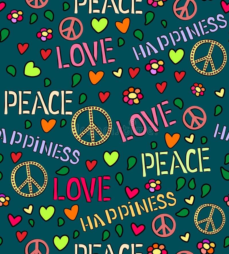 Nahtloses Muster mit Symbolen der Hippie Liebes- und Friedensfarbhintergrund stock abbildung