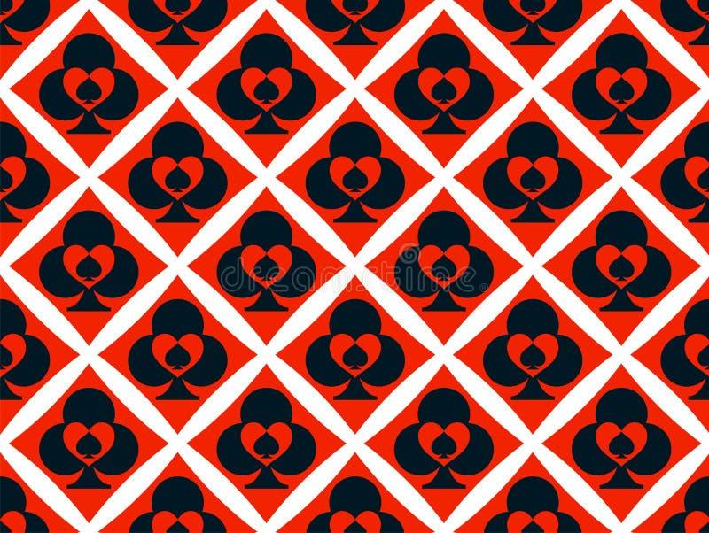 Nahtloses Muster mit Symbolen von Spielkarten Dekorativer Vektorhintergrund für Kasino und Pokerspiele vektor abbildung