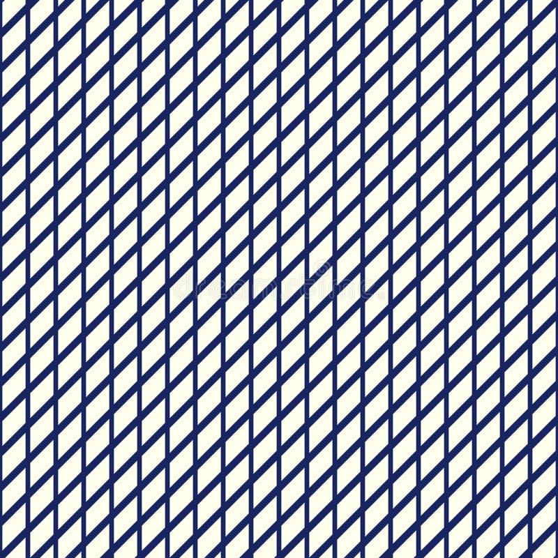 Nahtloses Muster mit symmetrischer geometrischer Verzierung Blaue gestreifte wiederholte Tapete des Gitters nautischzusammenfassu stock abbildung