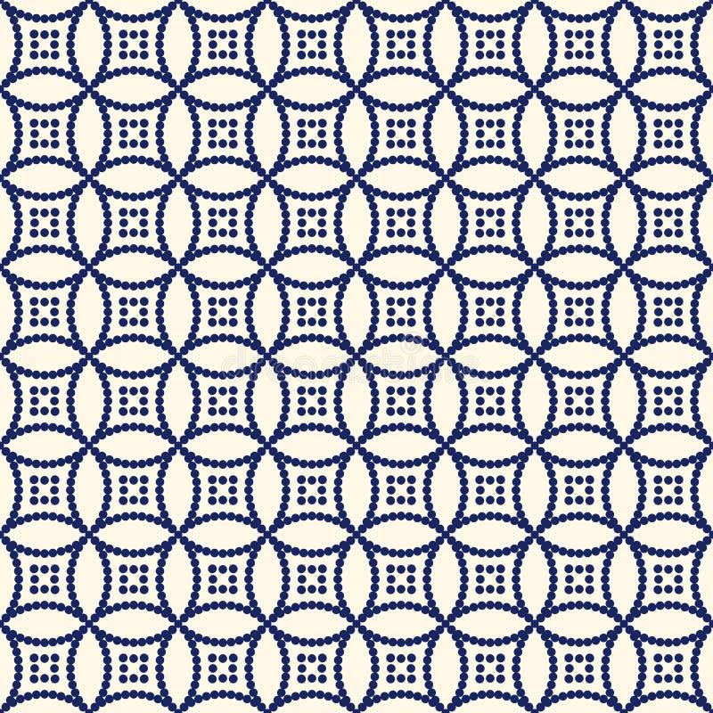 Nahtloses Muster mit symmetrischer geometrischer Verzierung Die wiederholte Zusammenfassung kreist Hintergrund ein Ethnische Tape stock abbildung