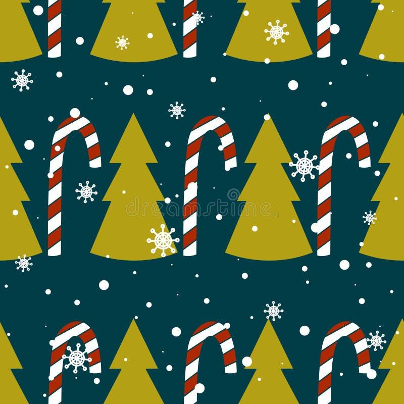 Nahtloses Muster mit Tannenbäumen, Schnee, Zuckerstangen vektor abbildung