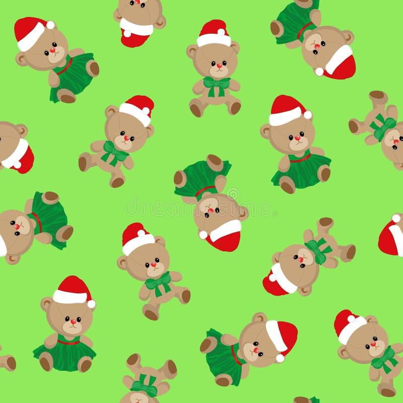 Nahtloses Muster mit Teddybären, nette Weihnachtskarikaturart, Kinderfeiertagsvektor, für Kindertextilgewebe, Packpapier stock abbildung