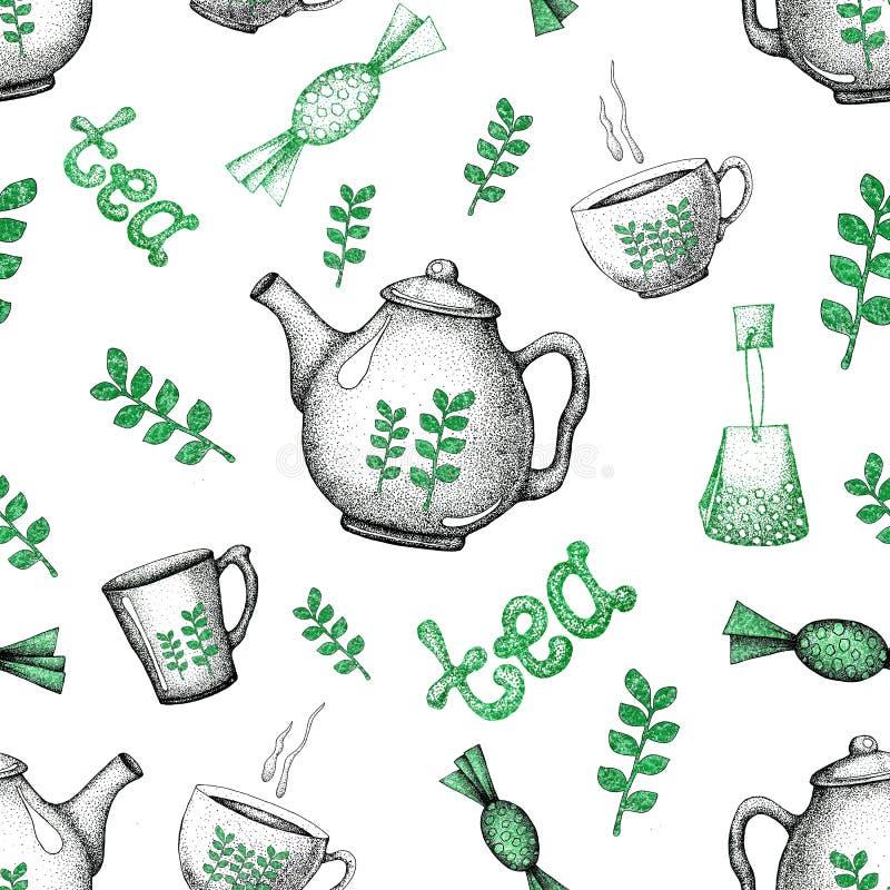 Nahtloses Muster mit Teeelementen Teekanne, Schale, Becher, Süßigkeit, Backen Für Tapetenentwurf Verpackungen, Verpacken, scrapbo stock abbildung