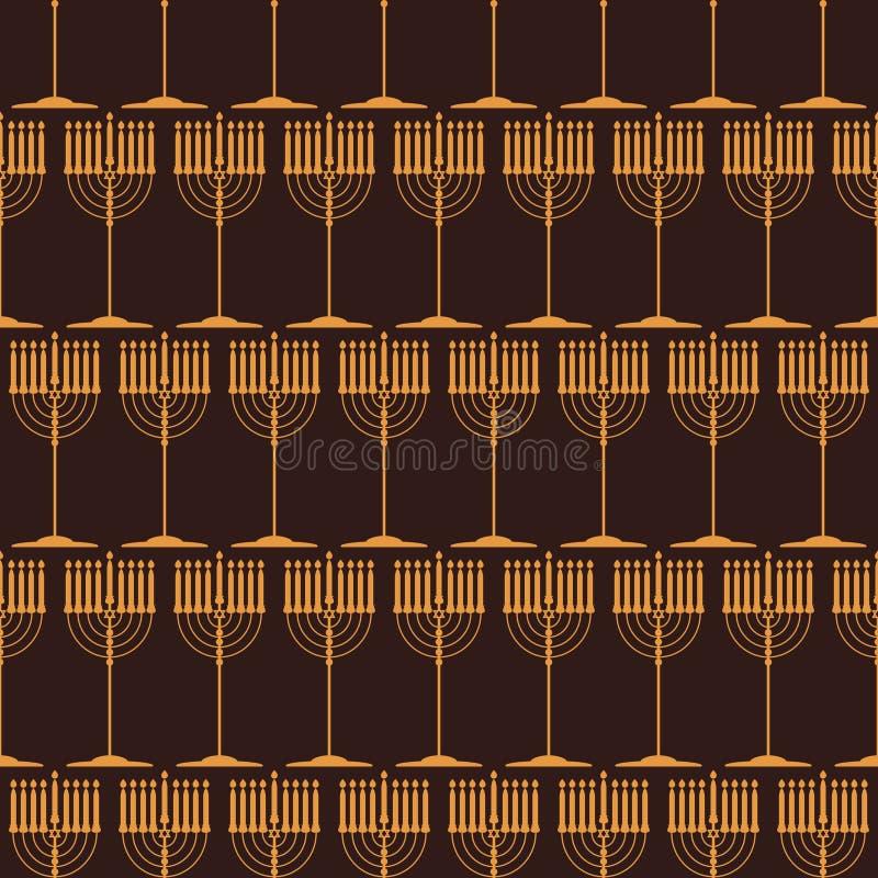 Nahtloses Muster mit traditionellen Symbolen von Chanukka vektor abbildung