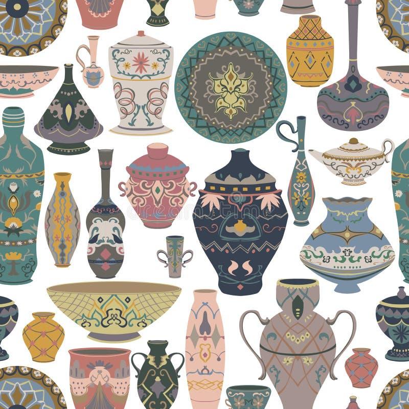 Nahtloses Muster mit traditioneller arabischer Ger?tsammlung Orientalische Teller, T?pfe, Laterne, Sch?ssel, Platten, Tonwaren, k vektor abbildung