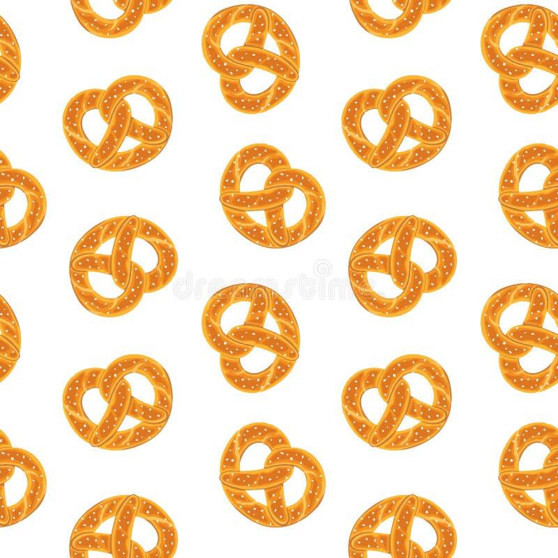 Nahtloses Muster mit traditioneller deutscher salziger Brezel Verdrehtes Brot mit Salz Vector nahtloses Muster stock abbildung