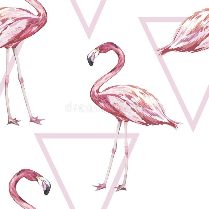 Nahtloses Muster mit tropischem Flamingo Element für Design von Einladungen, von Filmposter, von Geweben und von anderen Gegenstä stock abbildung