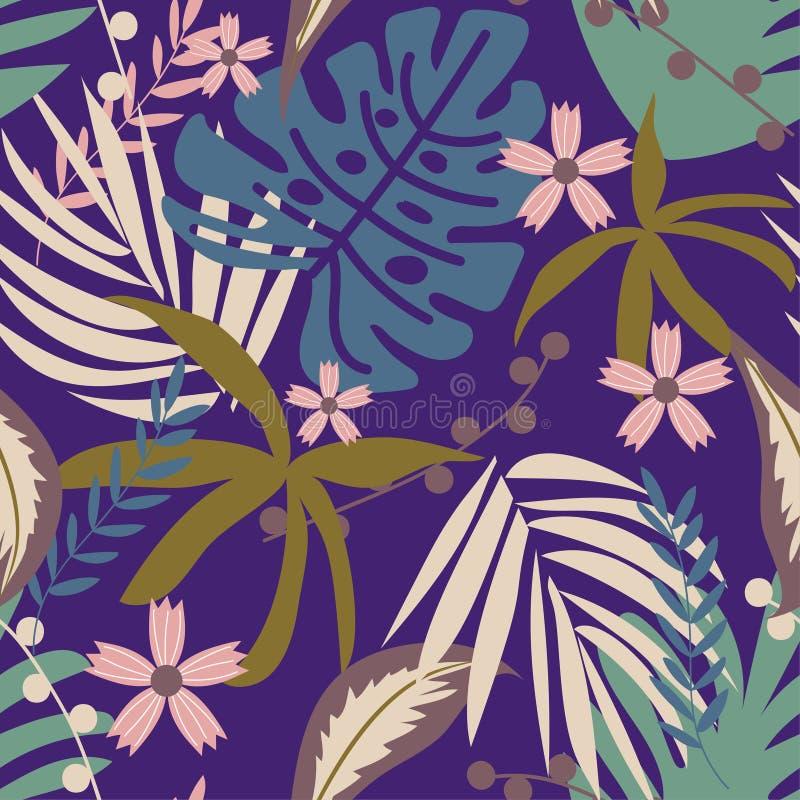 Nahtloses Muster mit tropischen Anlagen und Blumen auf purpurrotem Hintergrund ENV 10 Flacher Dschungeldruck Ausf?hrliche vektorz stock abbildung