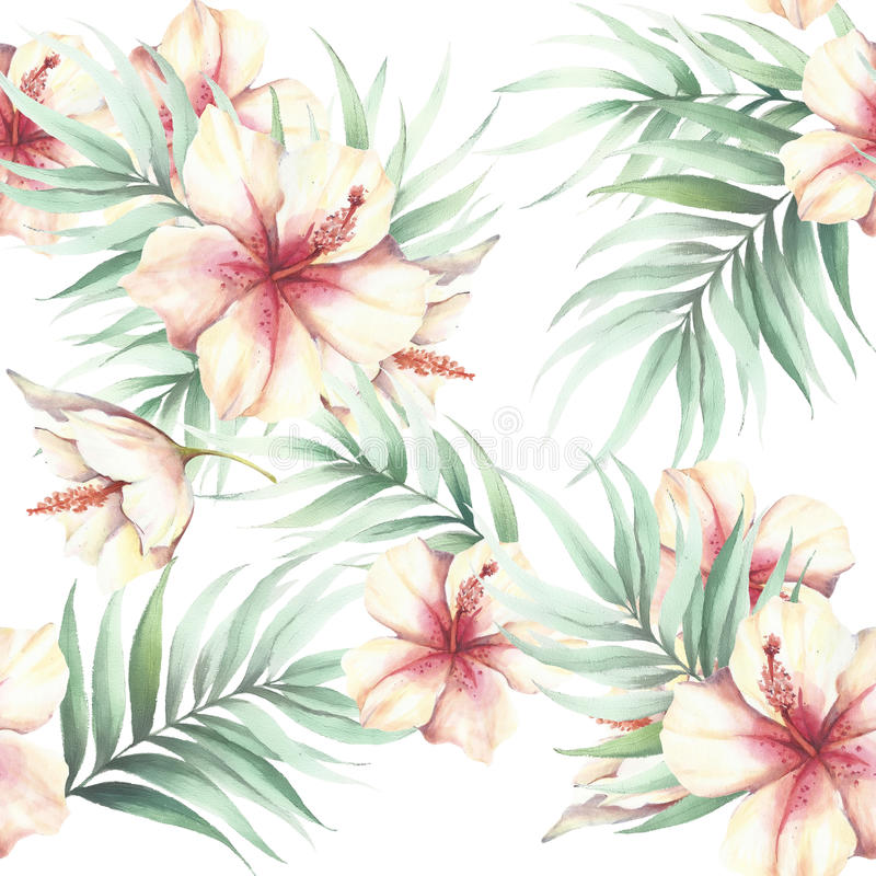 Nahtloses Muster mit tropischen Blumen und Blättern Dekoratives Bild einer Flugwesenschwalbe ein Blatt Papier in seinem Schnabel stock abbildung