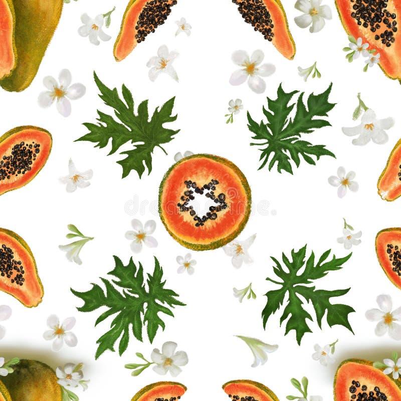 Nahtloses Muster mit tropischen Früchten, Blättern und Blumen Exotische Frucht der Papaya Hintergrund für Gewebe, Modebeschaffenh vektor abbildung