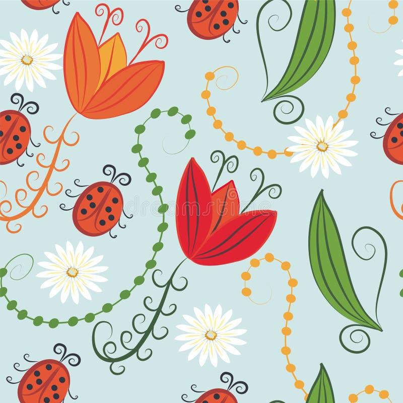 Nahtloses Muster mit Tulpen und Marienkäfern vektor abbildung