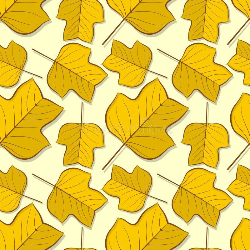 Nahtloses Muster mit Tulpenpappelherbstlaub lizenzfreie abbildung