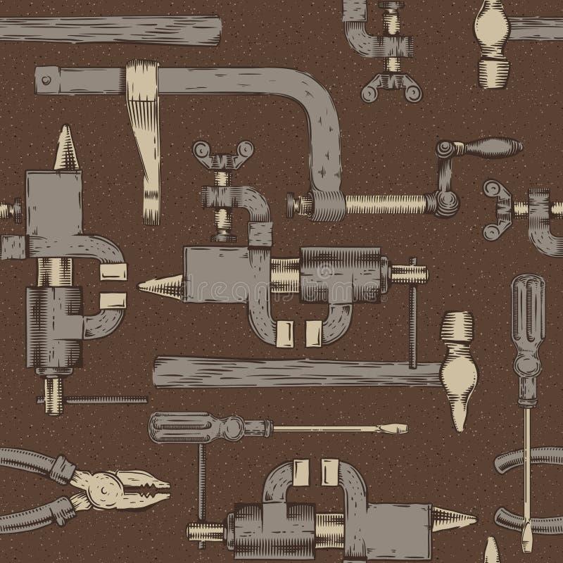 Nahtloses Muster mit tun es sich Werkzeuge stock abbildung