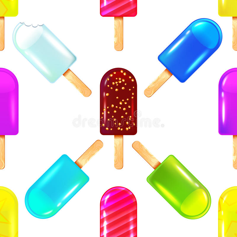 Nahtloses Muster mit unterschiedlicher farbiger Eiscreme vektor abbildung