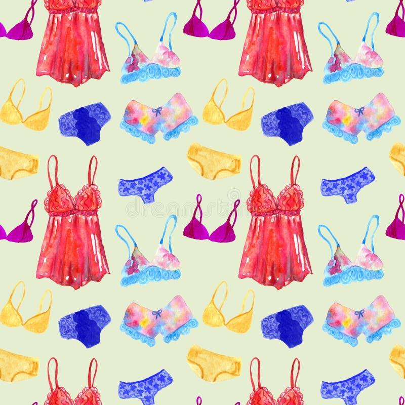 Nahtloses Muster mit Unterw?sche und W?sche f?r Frau Hand gezeichnete Aquarellillustration Beschaffenheit f?r Druck, Gewebe, Gewe stock abbildung