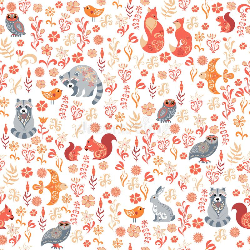 Nahtloses Muster mit Vögeln, Eulen, Eichhörnchen, Waschbären, Blumen und Blättern auf einem weißen Hintergrund lizenzfreie abbildung