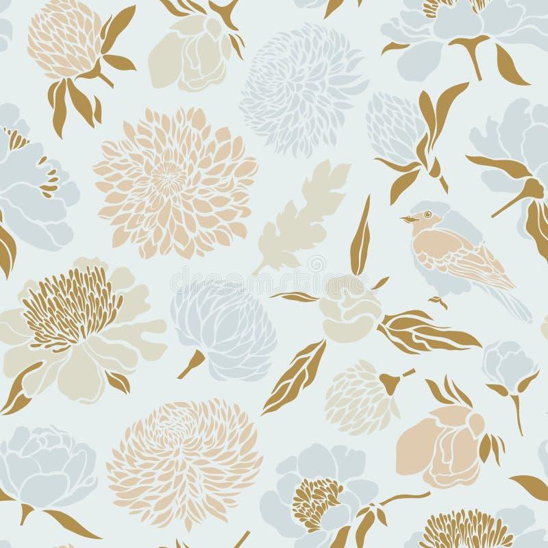 Nahtloses Muster mit Vögeln und Blumen Pfingstrose, Chrysantheme, Klee, Tulpe stock abbildung
