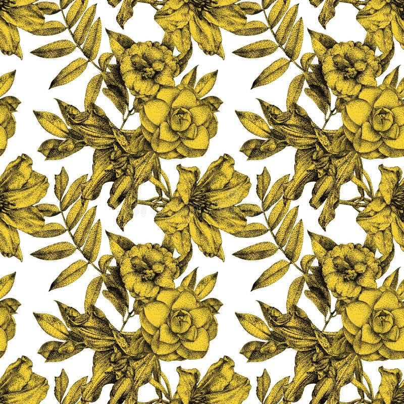 Nahtloses Muster mit verschiedenen Blumen und den Anlagen eigenhändig gezeichnet vektor abbildung