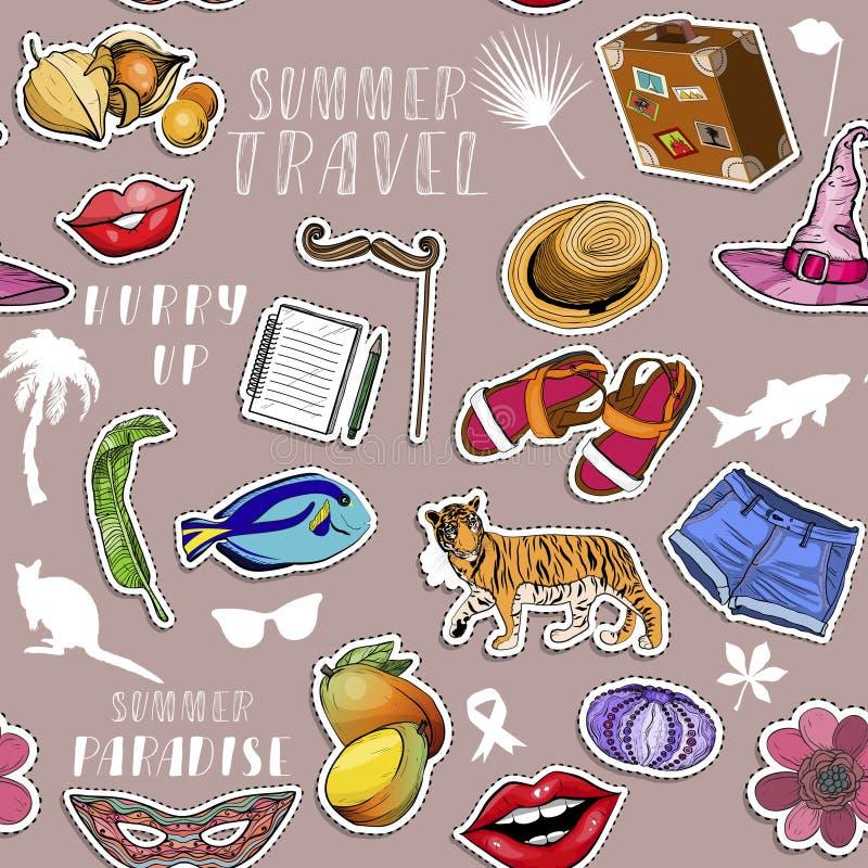 Nahtloses Muster mit verschiedenen bunten Aufklebern Sommerreisen lizenzfreie abbildung