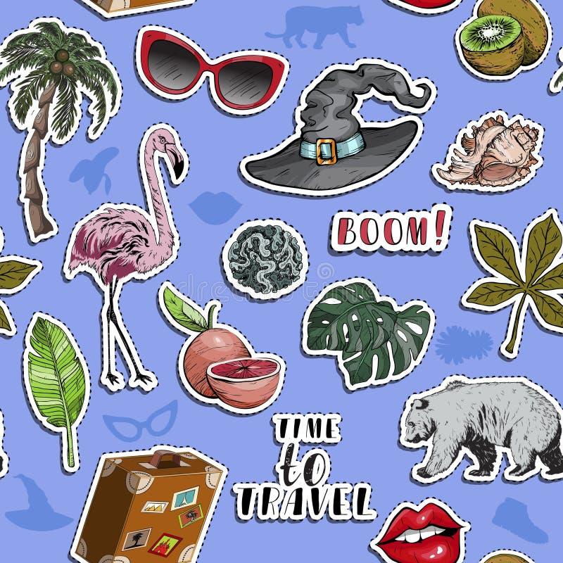 Nahtloses Muster mit verschiedenen exotischen bunten Gegenständen Sommerreisekonzept stock abbildung