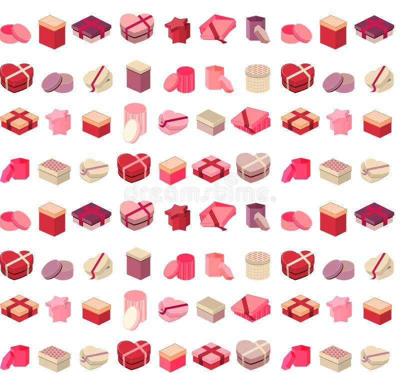 Nahtloses Muster mit verschiedenen Geschenkboxen lizenzfreie abbildung