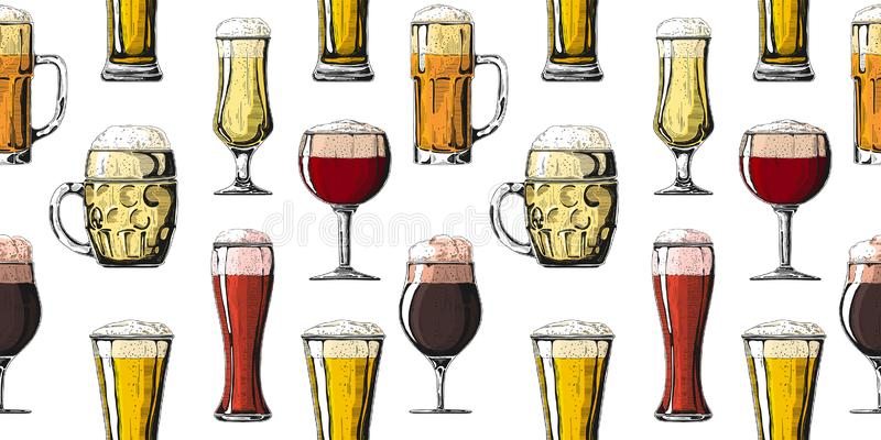 Nahtloses Muster mit verschiedenen Gl?sern mit Bier, verschiedene Becher Bier Auch im corel abgehobenen Betrag lizenzfreie stockfotografie
