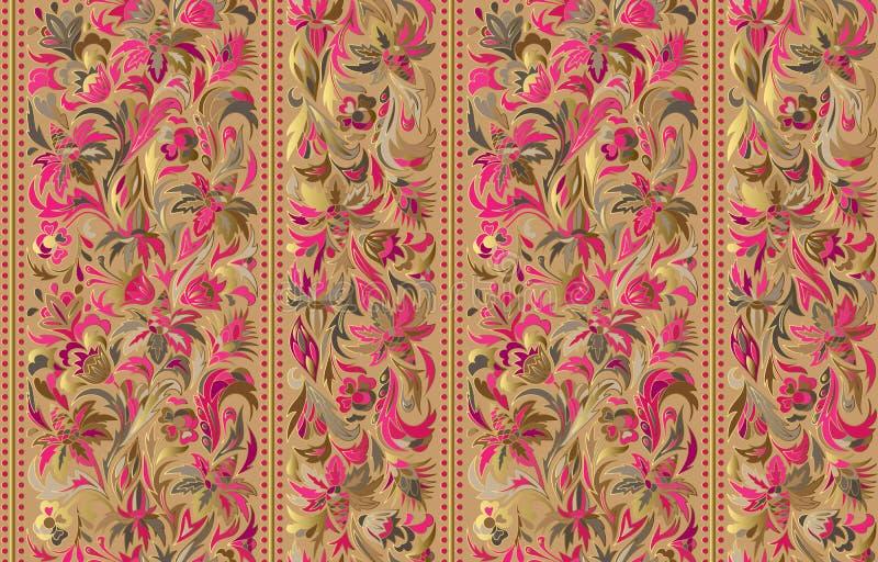 Nahtloses Muster mit vertikalen Streifen und Blumenhandzeichnungsverzierung Vektortapete lizenzfreie abbildung
