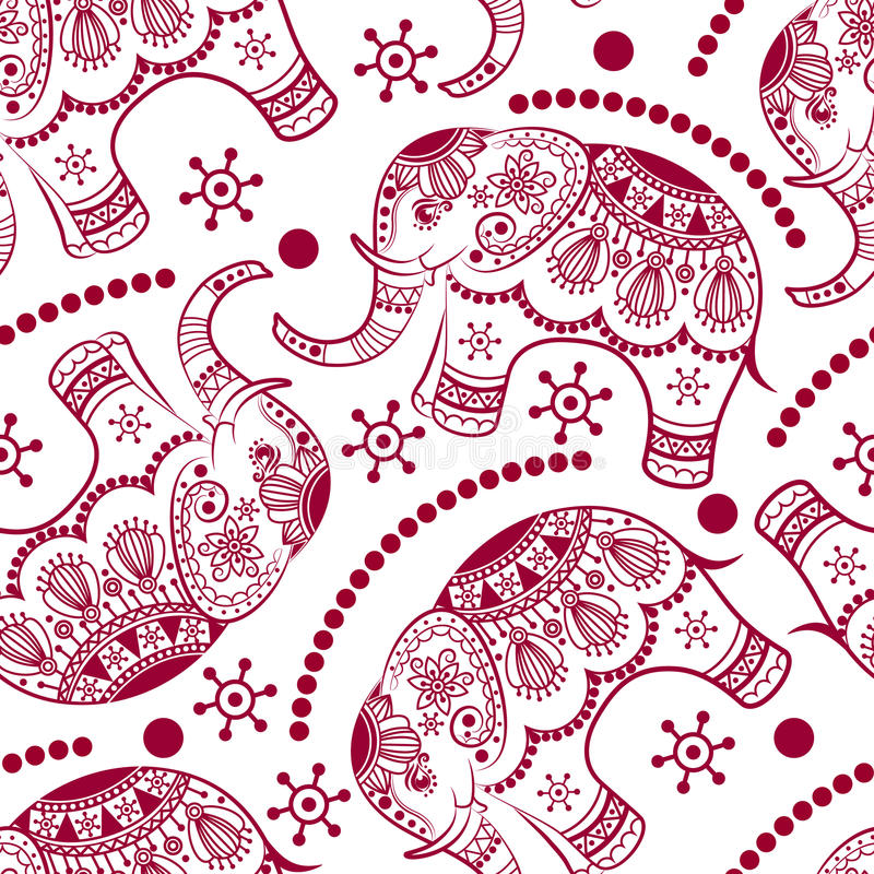 Nahtloses Muster mit verzierten Elefanten lizenzfreie abbildung