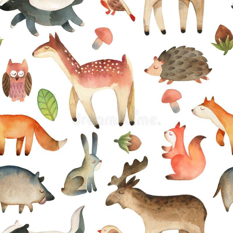 Nahtloses Muster mit Vogel, Elch, Eule, Blatt, Haselnuss; Pilz; Eichh?rnchen, Igeles, Rotwild, Fuchs, Herz, Kaninchen, Eber, Dach lizenzfreie abbildung