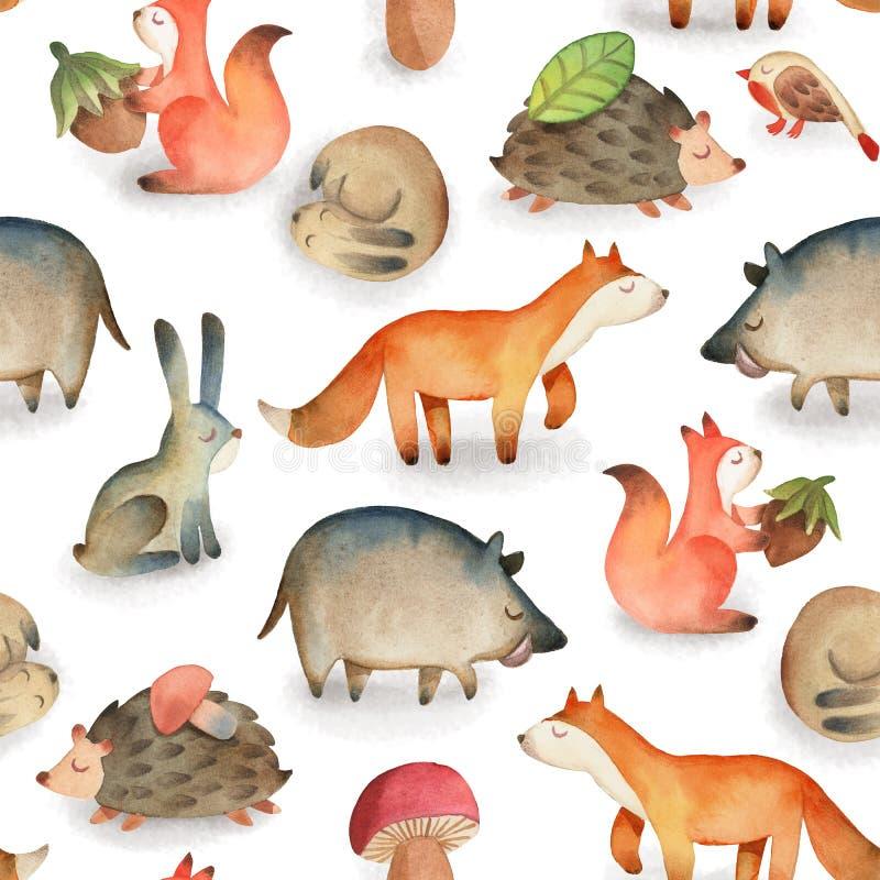 Nahtloses Muster mit Vogel, Eule, Blatt, Haselnuss, Pilz, Eichh?rnchen, Igeles, Rotwild, Fuchs, Hase, Kaninchen, Eber lizenzfreie abbildung