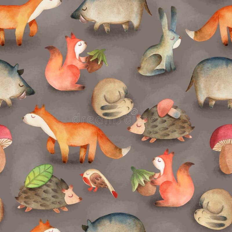 Nahtloses Muster mit Vogel; Eule; Blatt; Haselnuss; Pilz; Eichh?rnchen, Igeles, Rotwild, Fuchs, Hase, Kaninchen, Eber stock abbildung