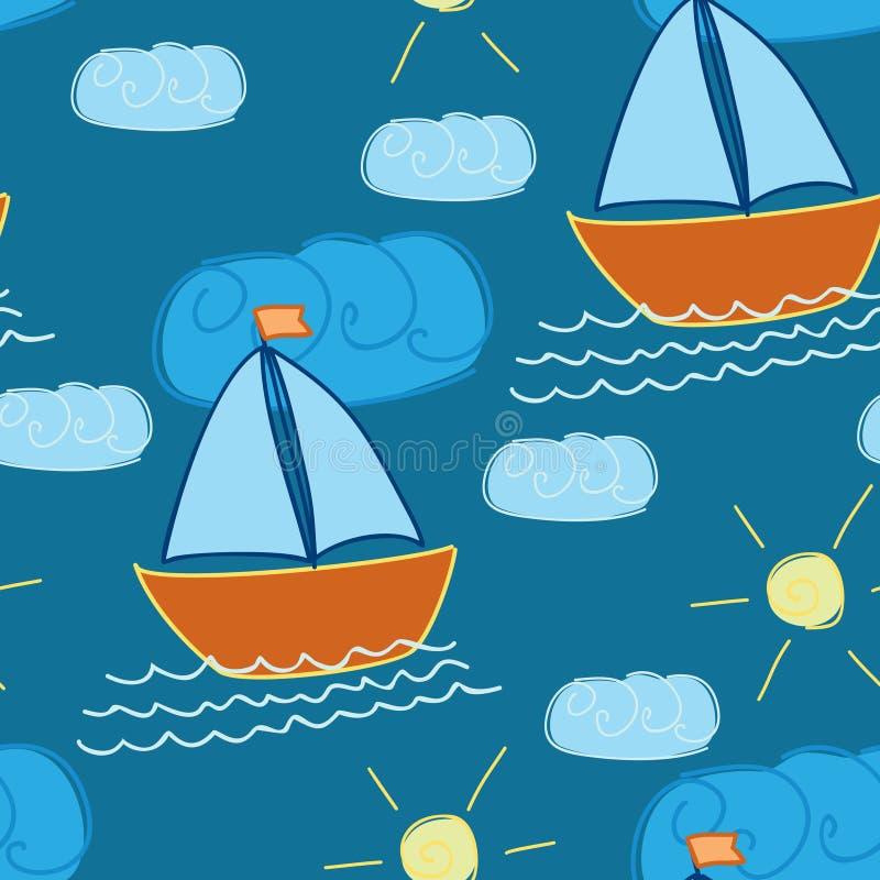 Nahtloses Muster mit von Hand gezeichnetem Schiff stock abbildung