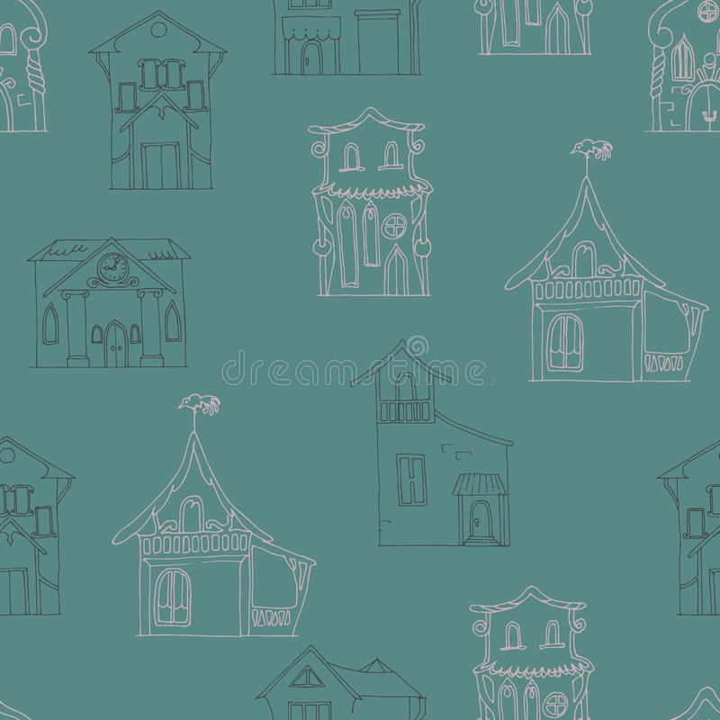 Nahtloses Muster mit von Hand gezeichneten Häusern von verschiedenen Arten auf einem dunkelbraunen Hintergrund stock abbildung