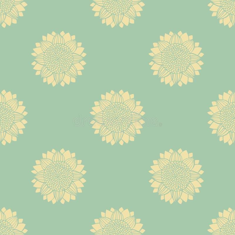 Nahtloses Muster mit von Hand gezeichneten Schattenbildsonnenblumen stock abbildung