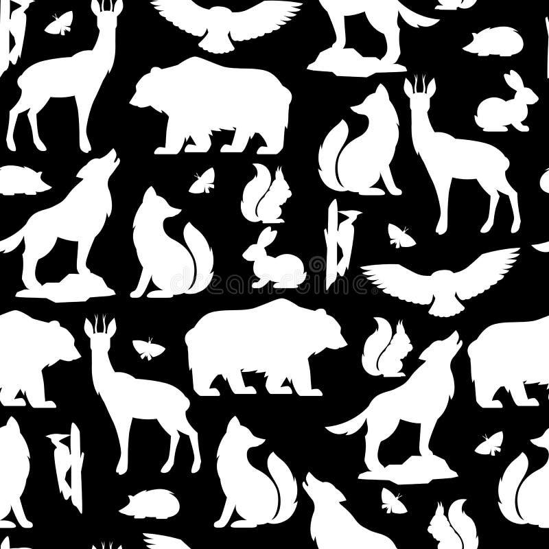 Nahtloses Muster mit Waldwaldtieren und -vögeln Stilisiert Abbildung stock abbildung