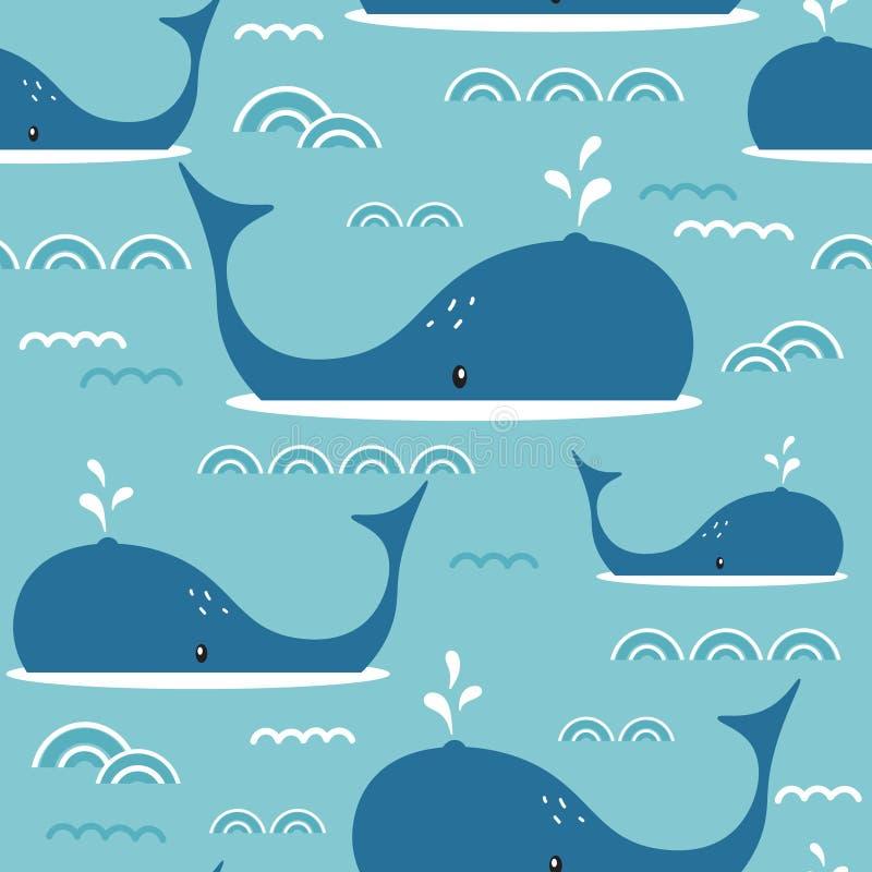 Nahtloses Muster mit Walen lizenzfreie abbildung