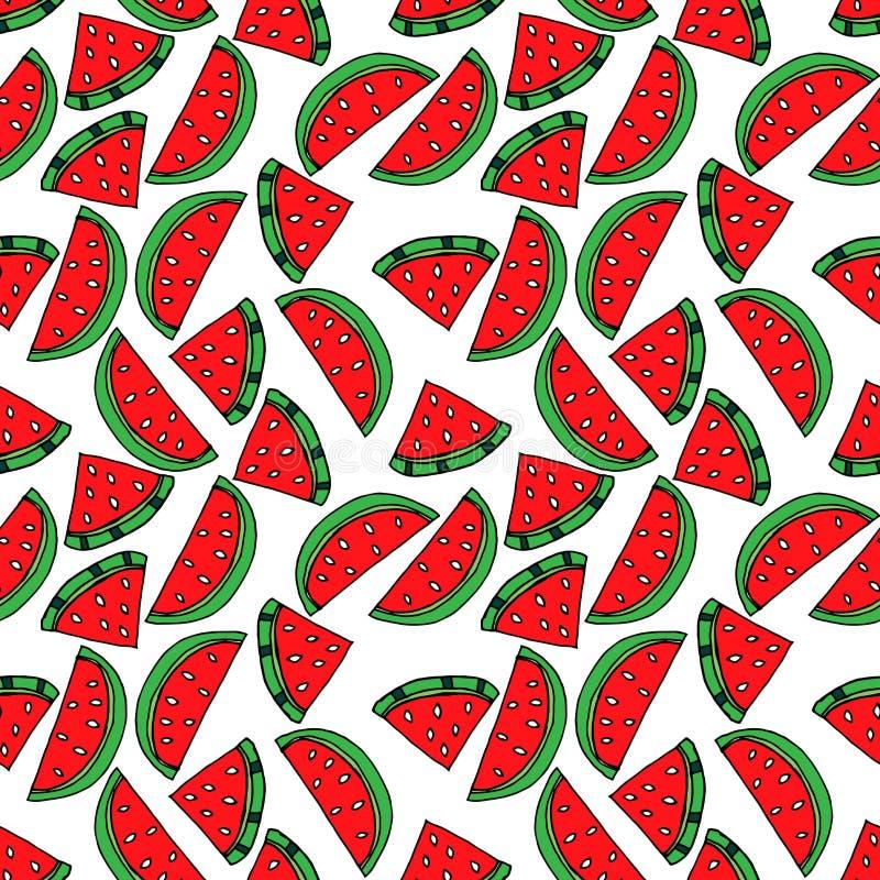 Nahtloses Muster mit Wassermelone Zeichnen im Stil der Pop-Art lizenzfreie abbildung