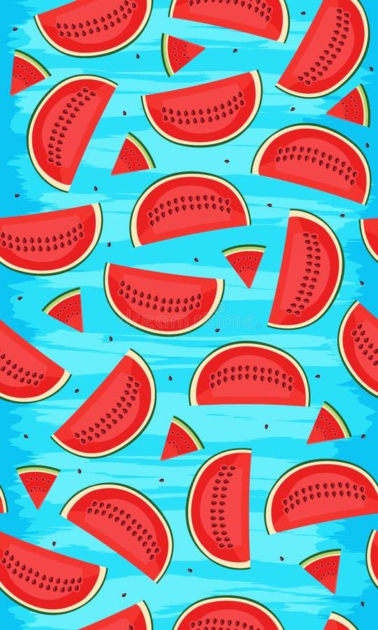 Nahtloses Muster mit Wassermelonen, Scheibe der Wassermelonenvektorillustration auf blauem Hintergrund des Schmutzes lizenzfreie abbildung