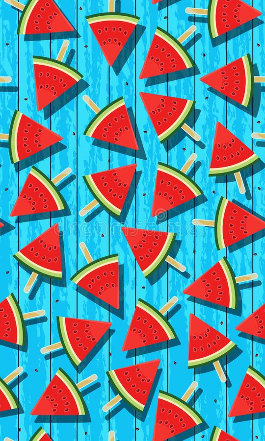 Nahtloses Muster mit Wassermelonen, Scheibenwassereise der Wassermelonenvektorillustration auf blauem Schmutzholzhintergrund stock abbildung