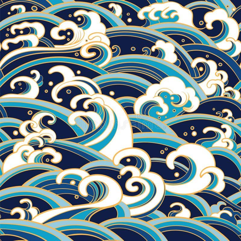 Nahtloses Muster mit Wasserwellen und spritzt vektor abbildung