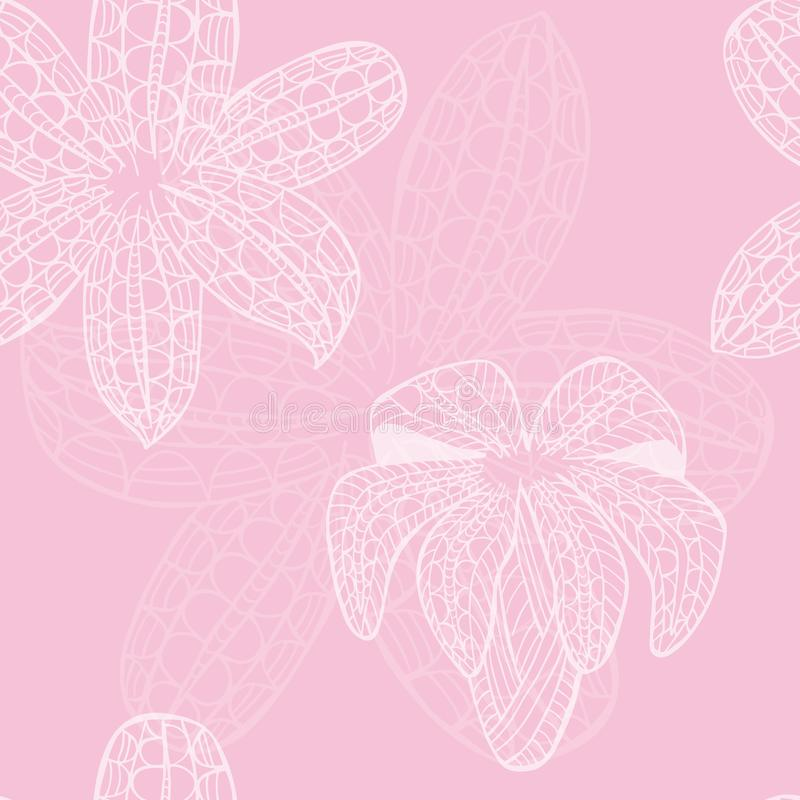Nahtloses Muster mit weißer dekorativer weißer Lilie lizenzfreie abbildung