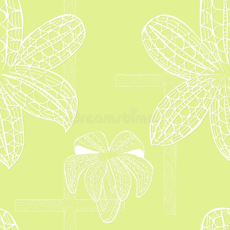 Nahtloses Muster mit weißer weißer Lilie und Kreuz lizenzfreie abbildung